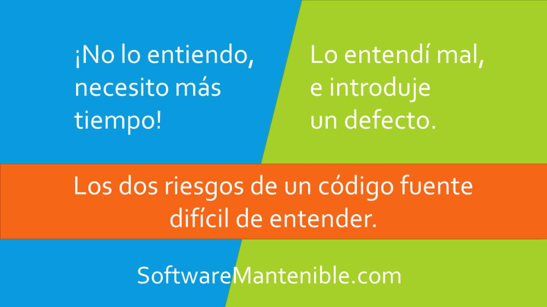 Los dos riesgos de un código fuente difícil deentender